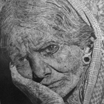 Old Woman From Calcutta Drawing